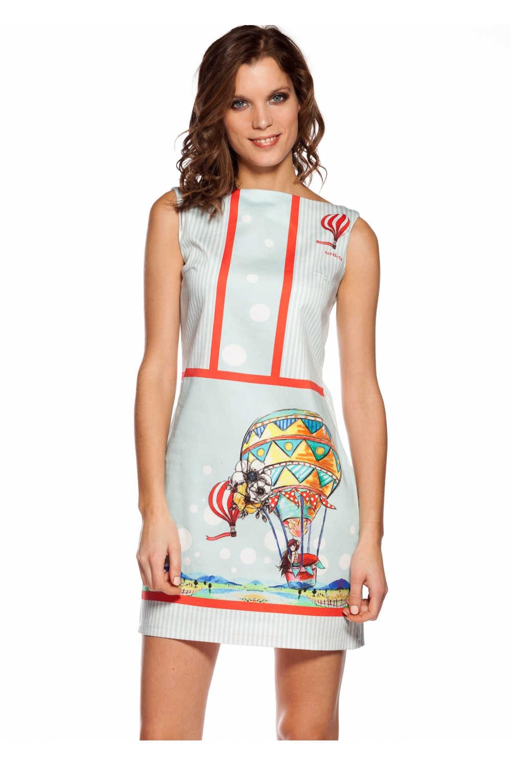 5d4c24ab3 Cotton waisted dress with stripes printing in turquoise and white ...