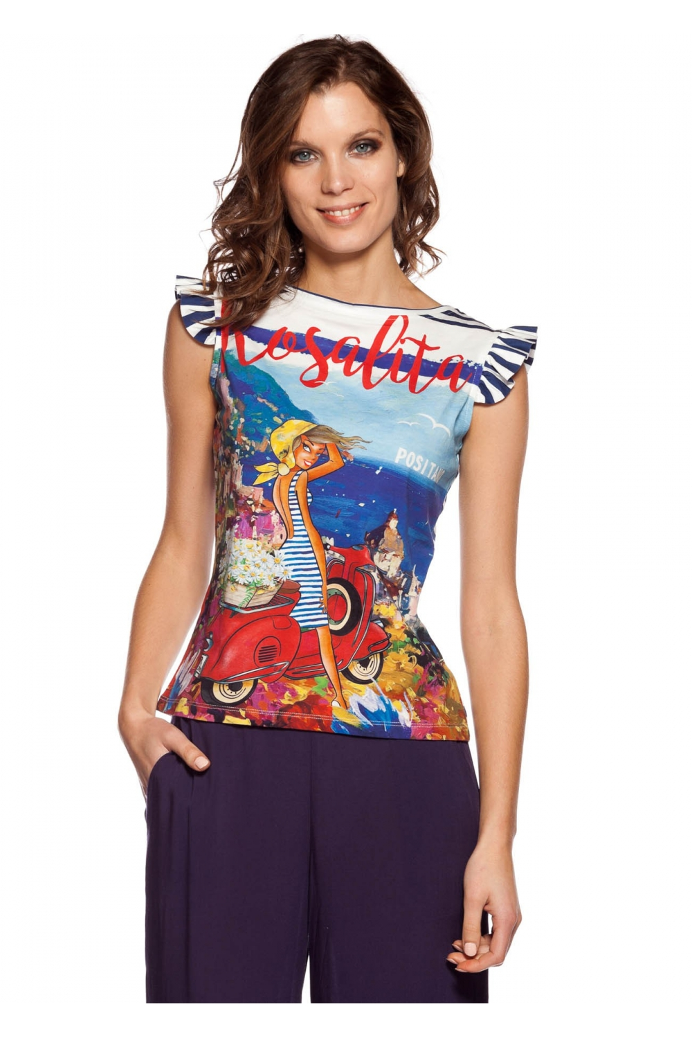 df996f03 T-shirt printed with painting, positano landscape, and, girl on ...