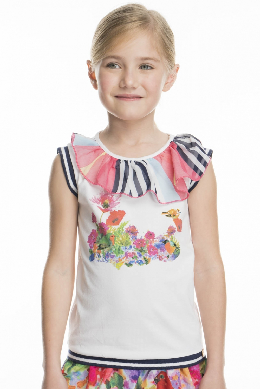 78db880b7e50a Floral printed top with asymetric frilled neck in striped chiffon ...